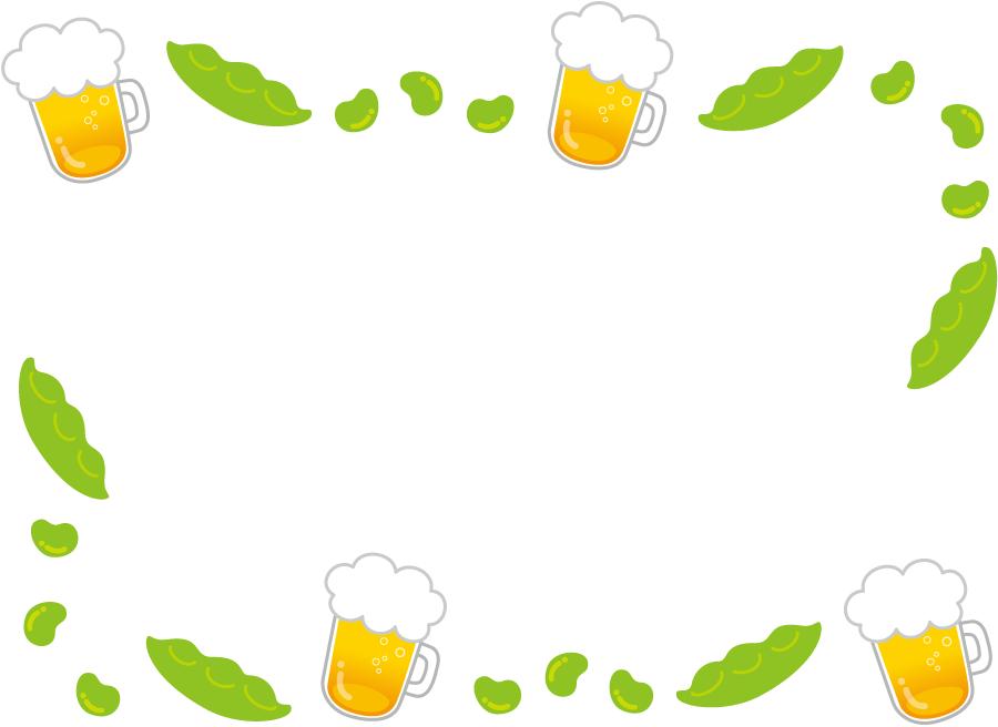 フリーイラスト 生ビールと枝豆の飾り枠
