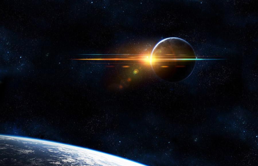 フリーイラスト 地球と月の背後の太陽