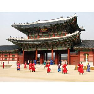 フリー写真, 風景, 建造物, 建築物, 景福宮, 宮殿, 門(ゲート), 人と風景, 衛兵, 韓国の風景, ソウル特別市