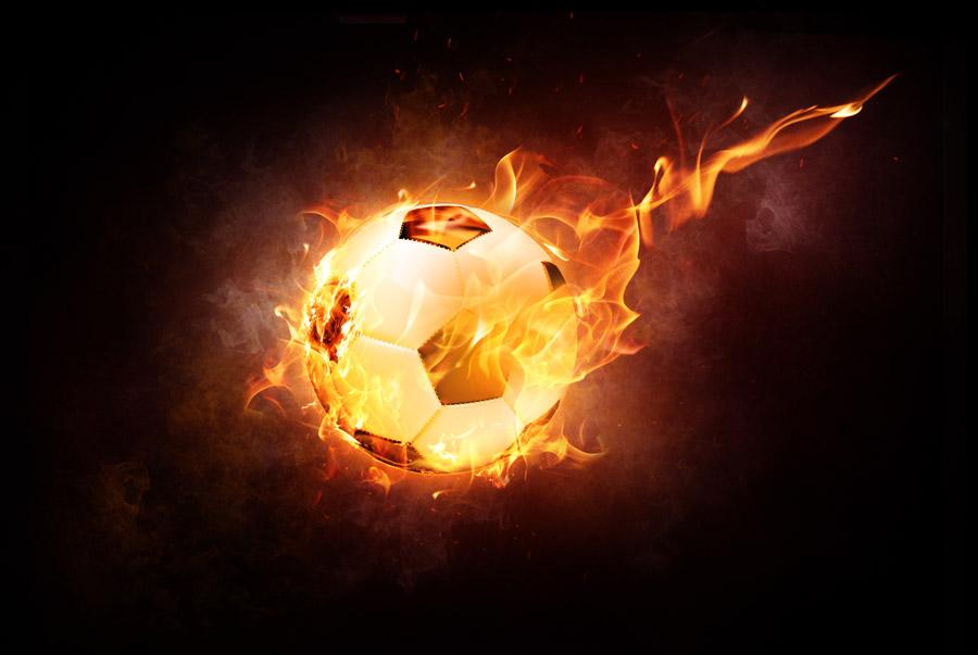 フリーイラスト 炎に包まれるサッカーボール