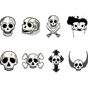 フリーイラスト, ベクター画像, AI, 人体, 頭蓋骨(髑髏), 骸骨, ドクロマーク, 海賊, 死