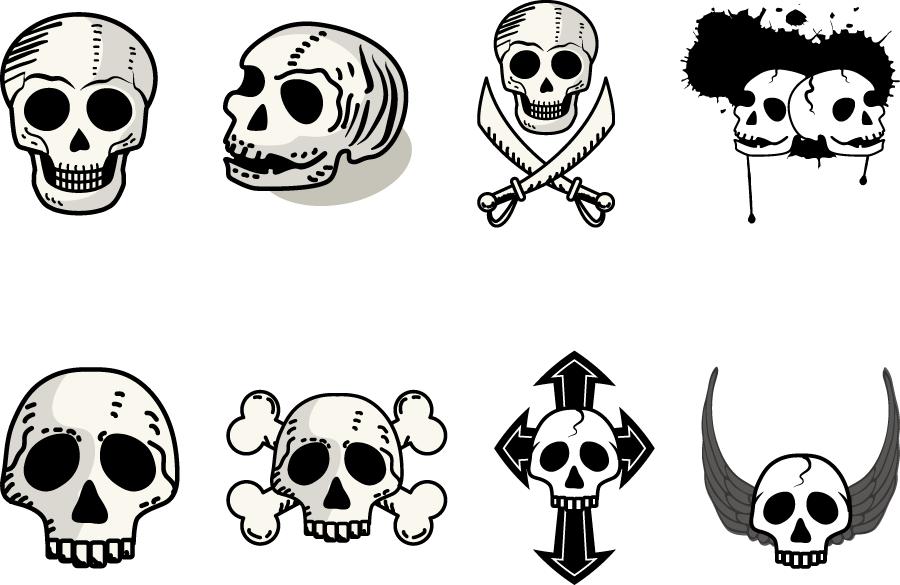 フリーイラスト 8種類の髑髏のセット