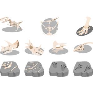 フリーイラスト, ベクター画像, AI, 動物の骨, 恐竜, ティラノサウルス, プテラノドン, トリケラトプス