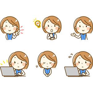 フリーイラスト, 人物, 女性, 女性(00210), 仕事, 職業, ビジネス, OL(オフィスレディ), 事務服, アドバイス, 右上を指す, 指差す, 閃く, 案内する, ノートパソコン, デスクワーク, お辞儀, 挨拶, 焦る, 頭を下げる