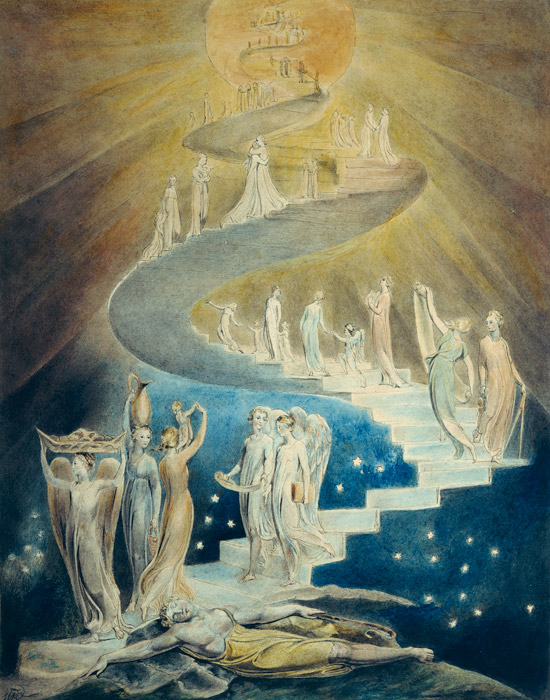 フリー絵画 ウィリアム・ブレイク作「ヤコブの夢」