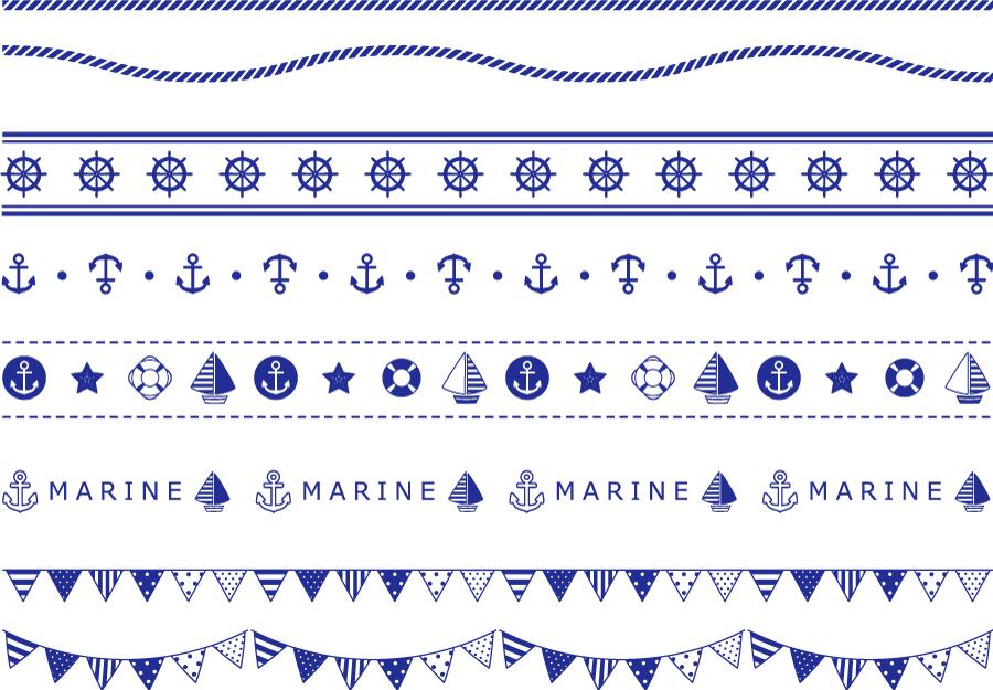 フリーイラスト 8種類のマリン関連のラインのセット