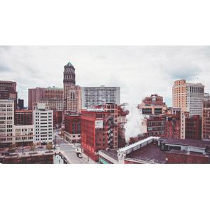 フリー写真, 風景, 建造物, 建築物, 高層ビル, 都市, 煙(スモーク), アメリカの風景, ミシガン州, デトロイト