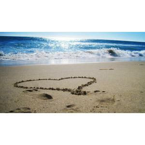 フリー写真, 風景, ビーチ(砂浜), 海, ハート