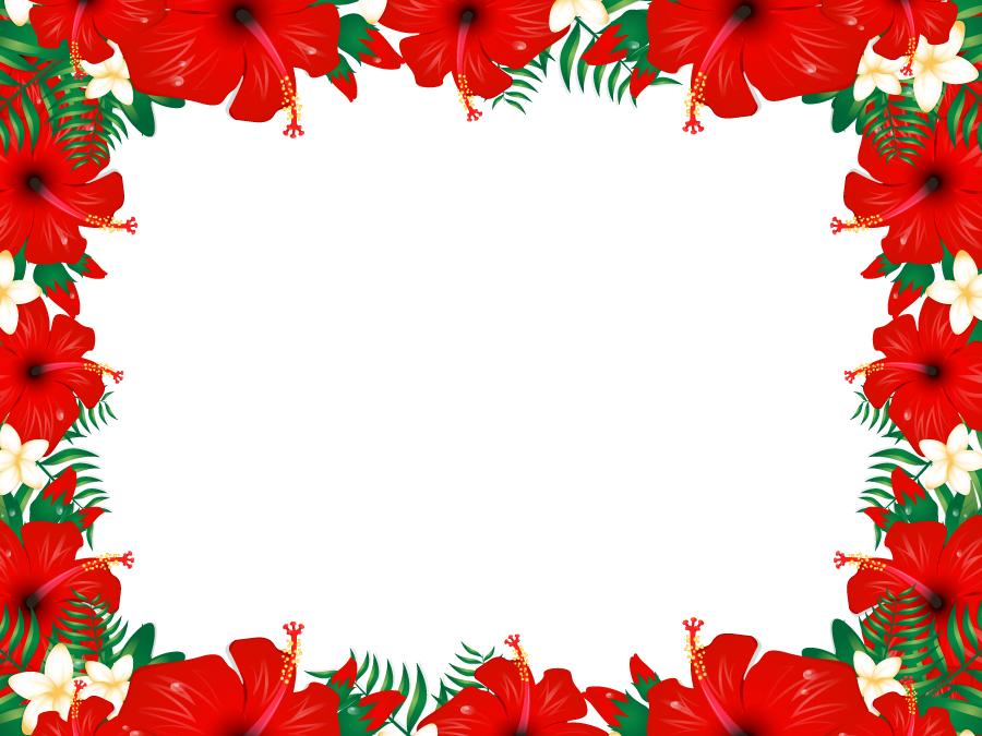 フリーイラスト ハイビスカスの花の飾り枠