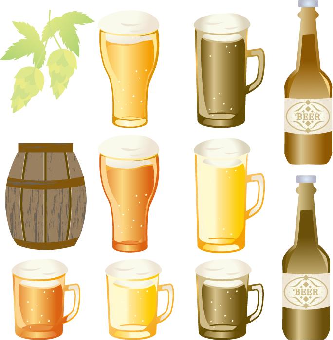 フリーイラスト 11種類のビールとホップのセット