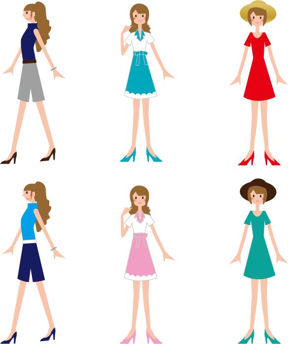 フリーイラスト 6種類の女性のセット