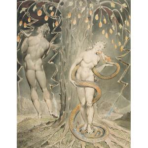 フリー絵画, ウィリアム・ブレイク, 宗教画, 旧約聖書, 失楽園, アダム, イヴ, 禁断の果実(知恵の実), エデンの園, 蛇(ヘビ)