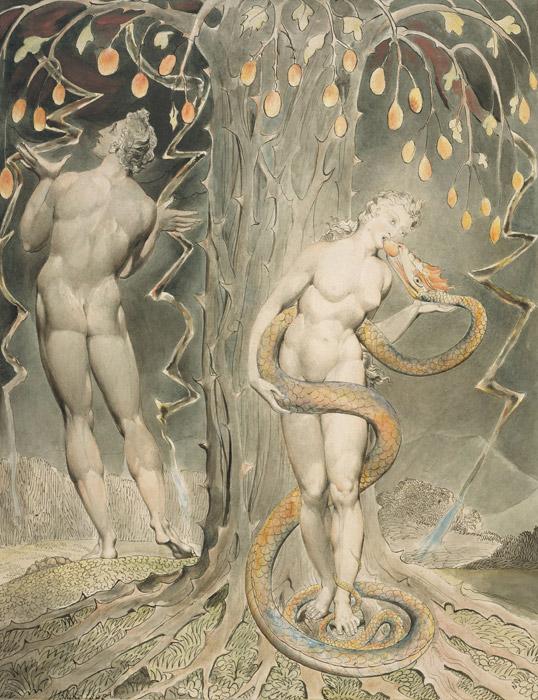 フリー絵画 ウィリアム・ブレイク作「誘惑とイブの堕落」