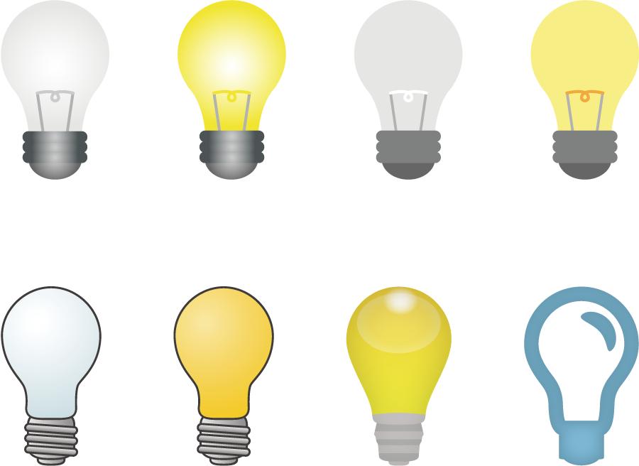 フリーイラスト 8種類の白熱電球のセット