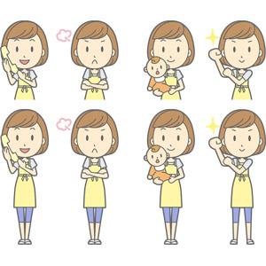 フリーイラスト, ベクター画像, AI, 人物, 女性, 女性(00193), 主婦, 母親(お母さん), エプロン, 固定電話, 通話, 怒る, 腕を組む, 赤ちゃん, 親子, 腕をまくる, 頑張る