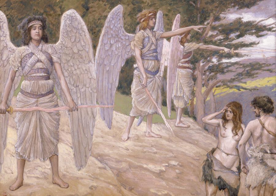 フリー絵画 ジェームズ・ティソ作「楽園を追放されるアダムとイヴ」