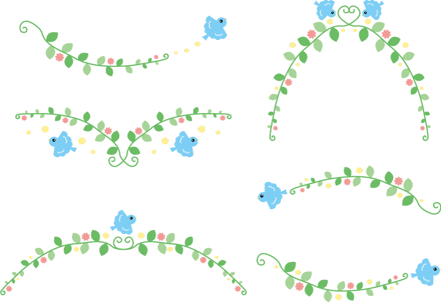 フリーイラスト 6種類の青い鳥と植物のラインのセット