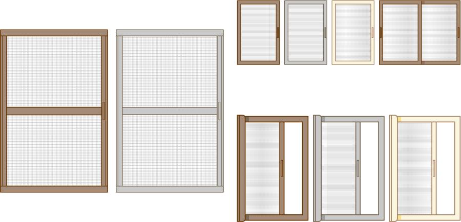 フリーイラスト 9種類の網戸のセット