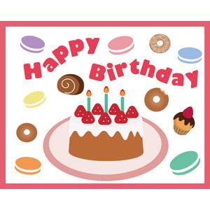 フリーイラスト, ベクター画像, EPS, 背景, 誕生日(バースデー), バースデーケーキ, ハッピーバースデー, 食べ物(食料), 菓子, 洋菓子, スイーツ, ケーキ, ドーナツ, マカロン, ショートケーキ, ロールケーキ, カップケーキ