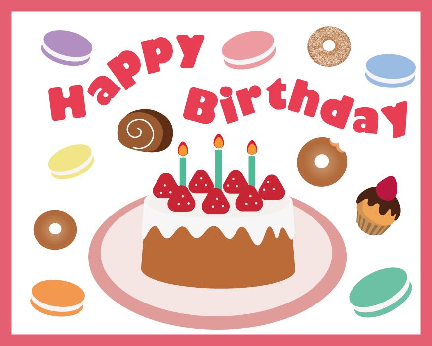 フリーイラスト バースデーケーキと誕生日の背景