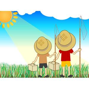 フリーイラスト, ベクター画像, EPS, 夏, 夏休み, 人物, 子供, 男の子, 兄弟, 虫取り網(虫捕り網), 虫かご, 昆虫採集, 麦わら帽子, 二人, 後ろ姿