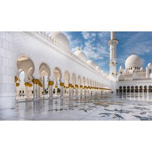 フリー写真, 風景, 建造物, 建築物, モスク, シェイク・ザーイド・モスク, アブダビ, アラブ首長国連邦の風景