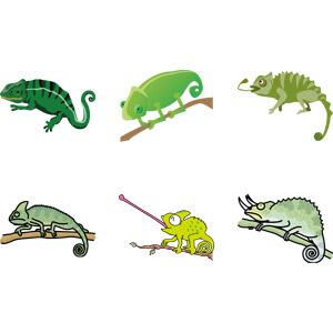 フリーイラスト, ベクター画像, AI, 動物, 爬虫類, カメレオン, 舌を出す(動物)
