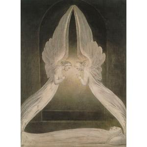 フリー絵画, ウィリアム・ブレイク, 宗教画, キリスト教, 新約聖書, イエス・キリスト, 天使(エンジェル)