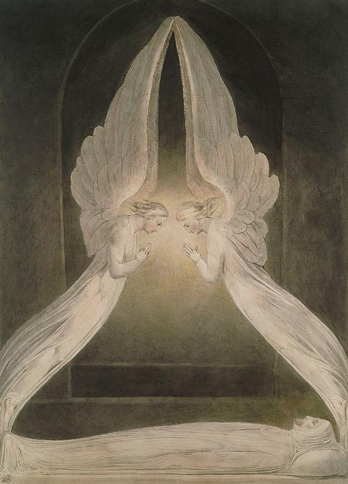 フリー絵画 ウィリアム・ブレイク作「天使に守られる死せるキリスト」