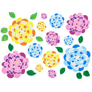フリーイラスト, ベクター画像, EPS, 背景, 植物, 花, 紫陽花(アジサイ), 花柄, カラフル, 梅雨, 6月