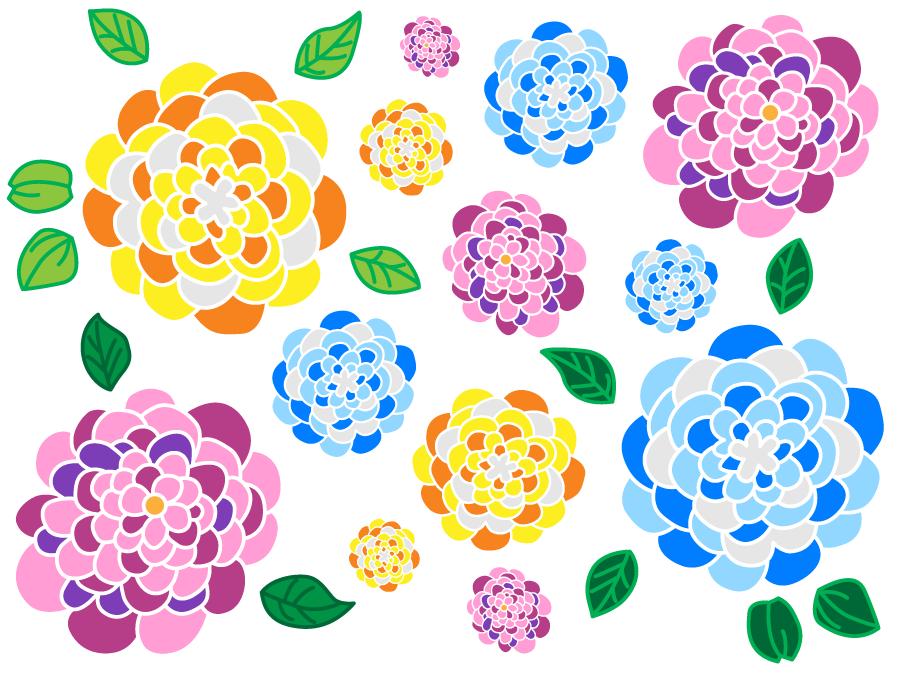 フリーイラスト カラフルな紫陽花の背景