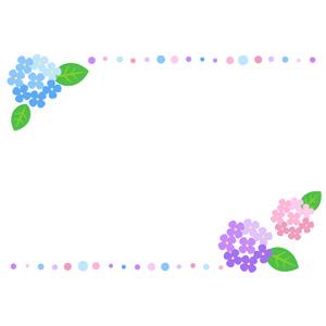 フリーイラスト, ベクター画像, AI, 背景, フレーム, 上下フレーム, 梅雨, 6月, 植物, 花, 紫陽花(アジサイ), 水玉模様(ドット柄)