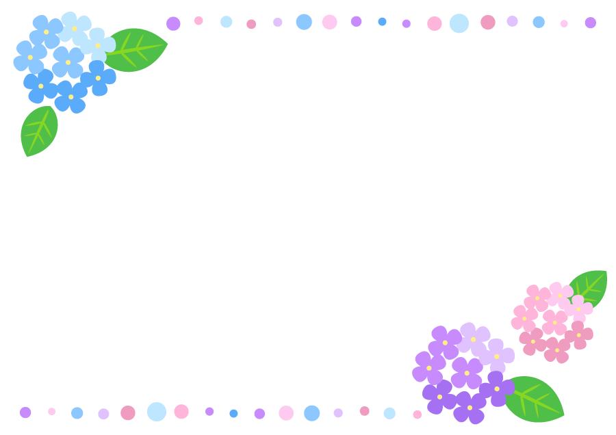 フリーイラスト 紫陽花の花と水玉の梅雨のフレーム