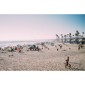 フリー写真, 風景, 人と風景, ビーチ(砂浜), 海水浴, レジャー, 人込み(人混み), カリフォルニア州, アメリカの風景