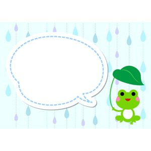 フリーイラスト, ベクター画像, AI, 背景, 梅雨, 6月, 雨, 動物, 両生類, 蛙(カエル), 吹き出し