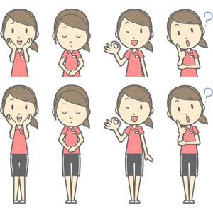 フリーイラスト, ベクター画像, AI, 人物, 女性, 女性(00217), 仕事, 職業, インストラクター, スポーツトレーナー, フィットネスクラブ, トレーニングジム, 照れる, 頬に手を当てる, お辞儀, 頭を下げる, 挨拶, OKサイン, 首を傾げる, 分からない