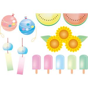 フリーイラスト, ベクター画像, EPS, 夏, 水風船, 西瓜(スイカ), 向日葵(ヒマワリ), 風鈴, アイスクリーム