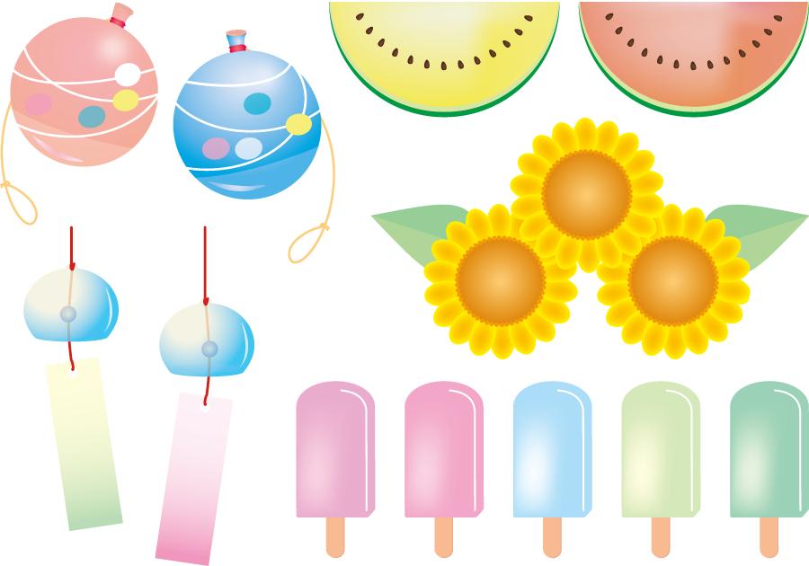 フリーイラスト アイスクリームや水ヨーヨーなどの夏のセット