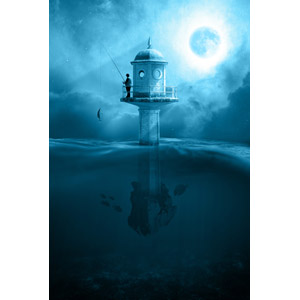 フリー写真, フォトレタッチ, 人と風景, 海, 灯台(ライトハウス), 月, 満月, 夜, 魚釣り(フィッシング), 水中