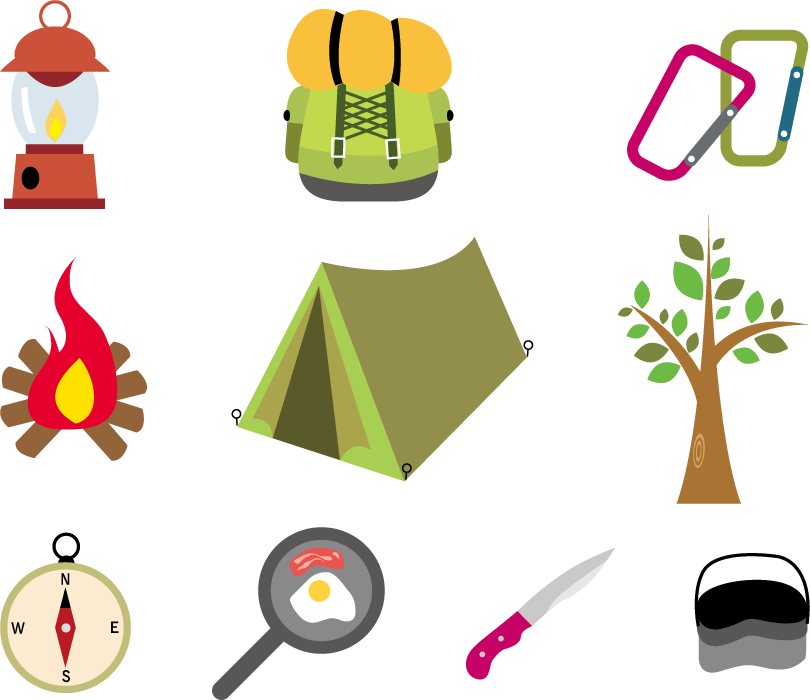 フリーイラスト 10種類のキャンプ用品のセット
