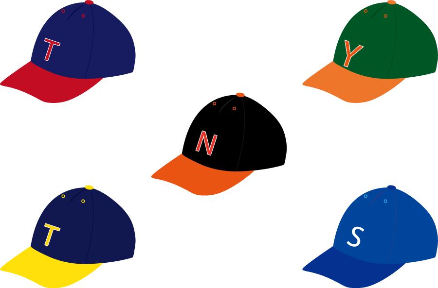 フリーイラスト 5種類の野球帽のセット
