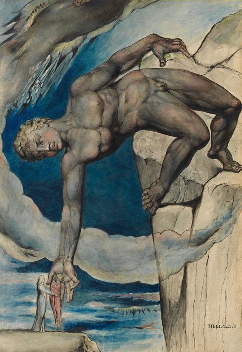 フリー絵画 ウィリアム・ブレイク作「ウェルギリウスとダンテをコキュートスに降ろすアンタイオス」