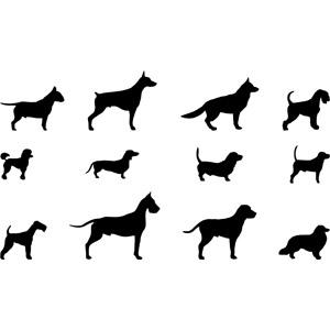 フリーイラスト, ベクター画像, AI, 動物, 哺乳類, 犬(イヌ), シルエット(動物), ブル・テリア, ドーベルマン, ジャーマン・シェパード・ドッグ, プードル, ダックスフンド, グレート・デーン