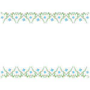 フリーイラスト, ベクター画像, EPS, 背景, フレーム, 上下ーフレーム, 植物, 小鳥, 青い鳥, 鳥(トリ)