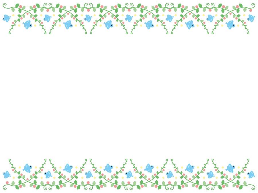 フリーイラスト 青い鳥と植物の飾り枠