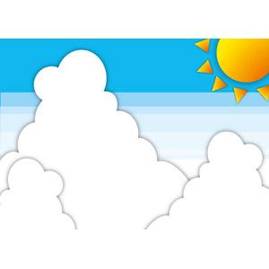 フリーイラスト, ベクター画像, EPS, 風景, 自然, 空, 太陽, 夏, 積乱雲(入道雲), 雲