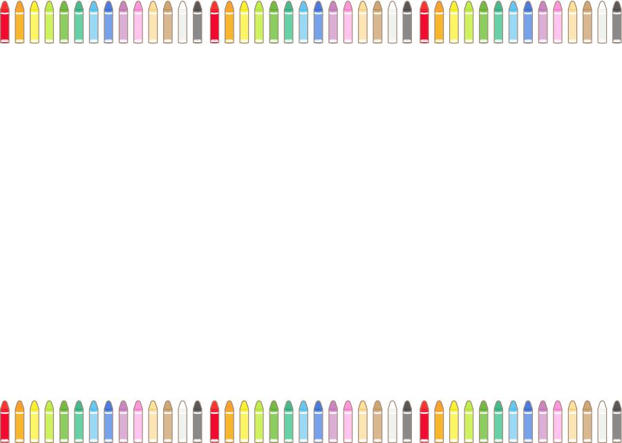 フリーイラスト カラフルなクレヨンの飾り枠