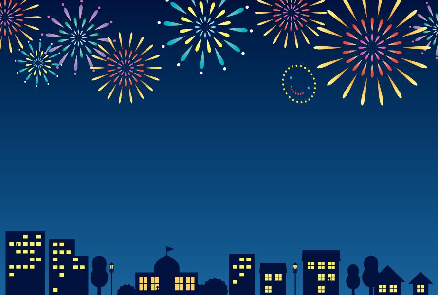 フリーイラスト 夜の街と打ち上げ花火