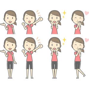 フリーイラスト, ベクター画像, AI, 人物, 女性, 女性(00217), 仕事, 職業, インストラクター, スポーツトレーナー, フィットネスクラブ, トレーニングジム, 案内する, 応援する, ガッツポーズ, 頬に手を当てる, 目を輝かせる, 恋する