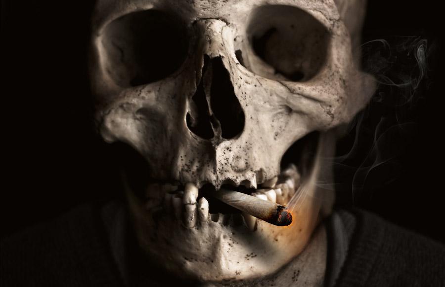 フリー写真 たばこを咥える髑髏
